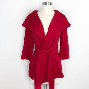 Red Ponte Cardigan Shawl Overpiece Red Small